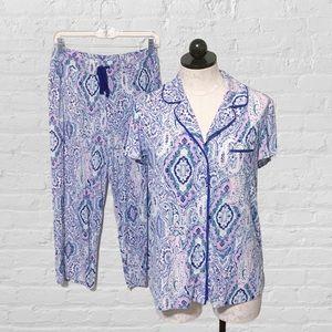 Soma Cool Nights Short Sleeve Collar Pajamas Set